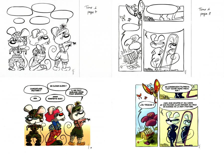 EVEN's original comic art from RACHEL THE LITTLE MOUSE Issue 1 original page 7 and 8.