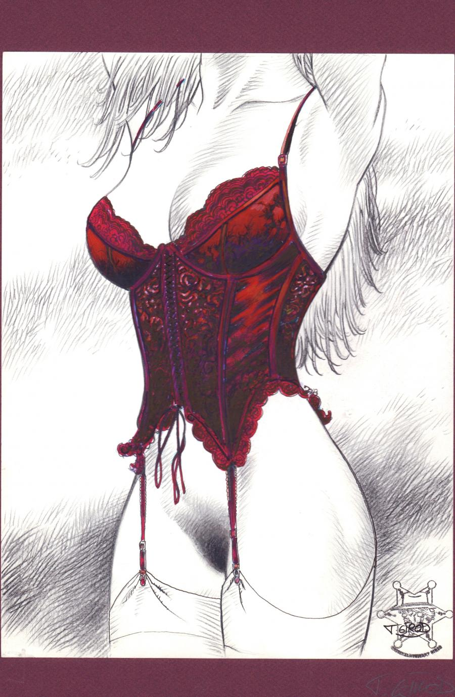 Illustration originale The Corset Rouge par GIROD