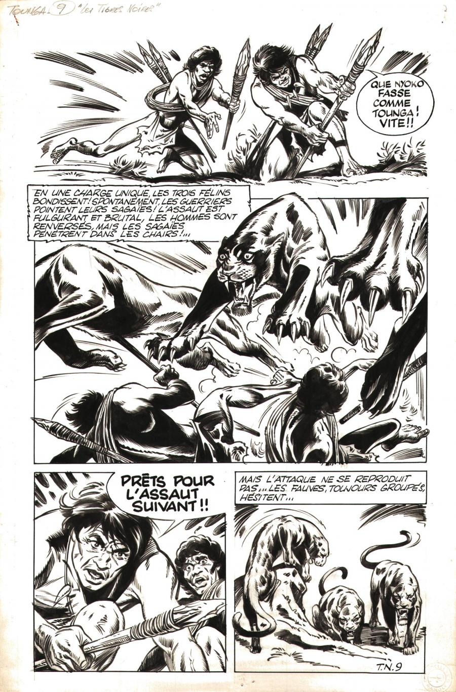 Original comic art 9 of TOUNGA Les tigres noirs by Edouard AIDANS