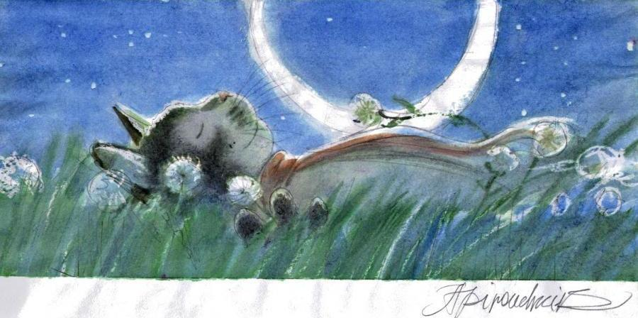 ARINOUCHKINE's original illustration Cat : nap in the grass