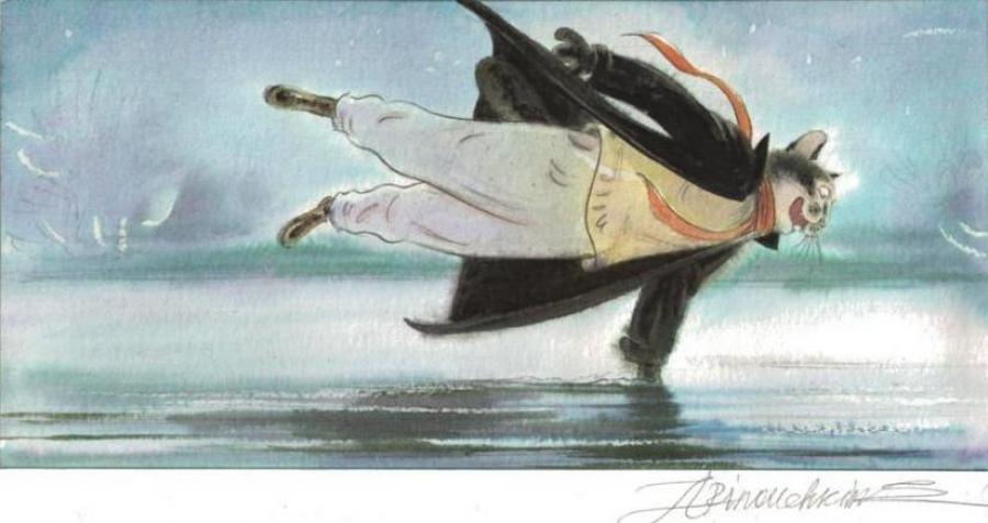 ARINOUCHKINE's original illustration Cat on ice