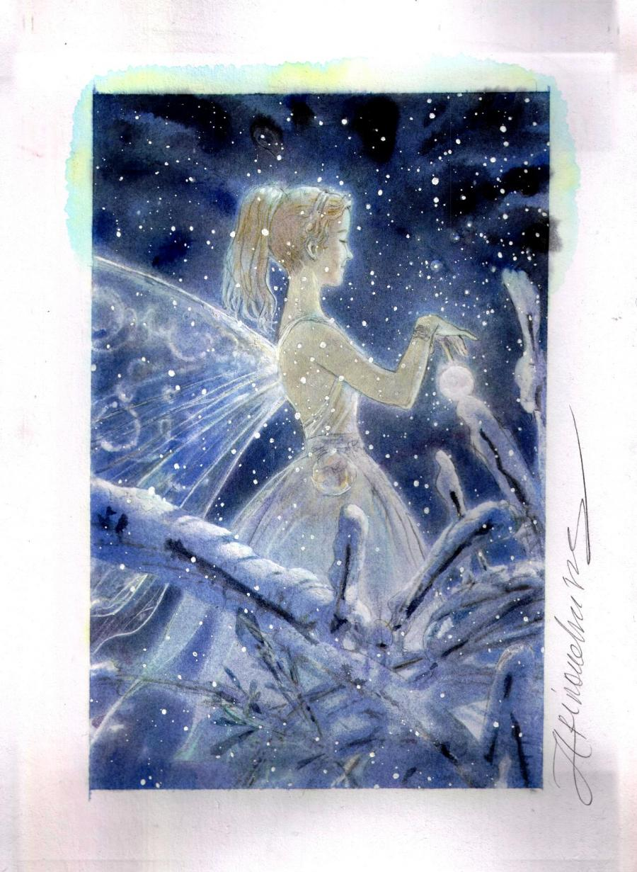 ARINOUCHKINE's original illustration Fairy : flakes night