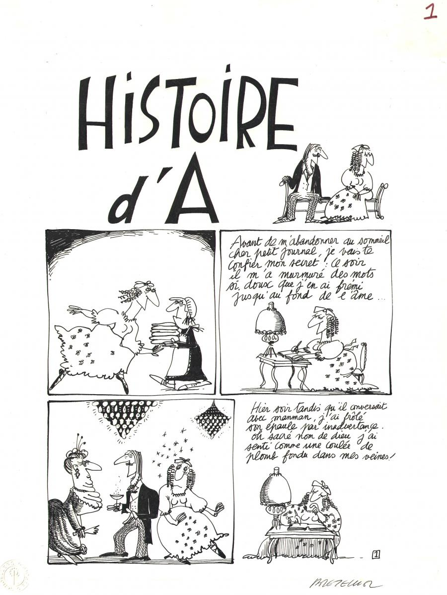 Comics illustration, Napoleon Gallery : miscellaneous - Original comic page 1 from a 4 pages gag - Histoire d'A - by Claire BRETECHER  (4 pages set, page 1/4)  - 1