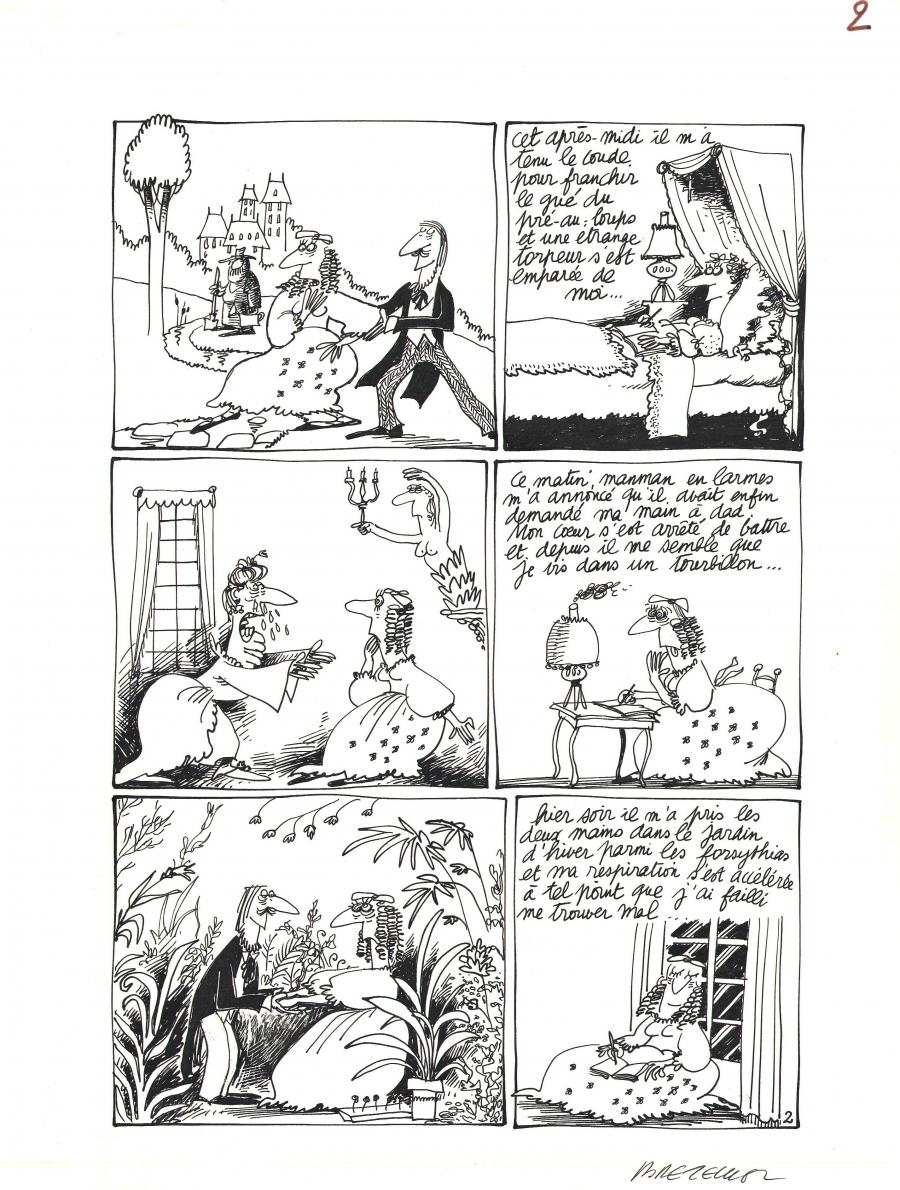 Original comic page 2 from a 4 pages gag - Histoire d'A - by Claire BRETECHER (4 pages set, page 2/4)