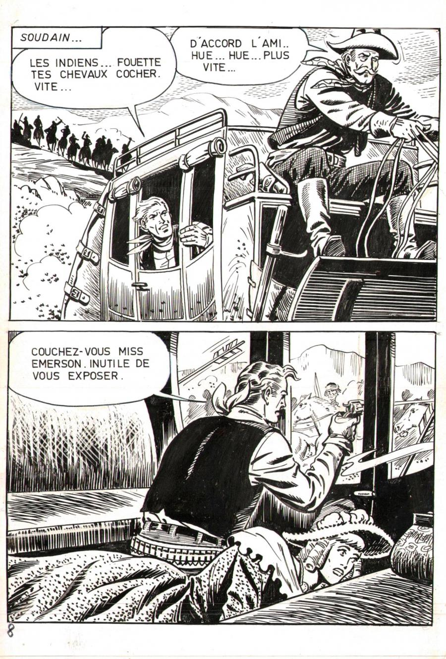 Robert LEGUAY's original comic art BUCK JOHN page 8