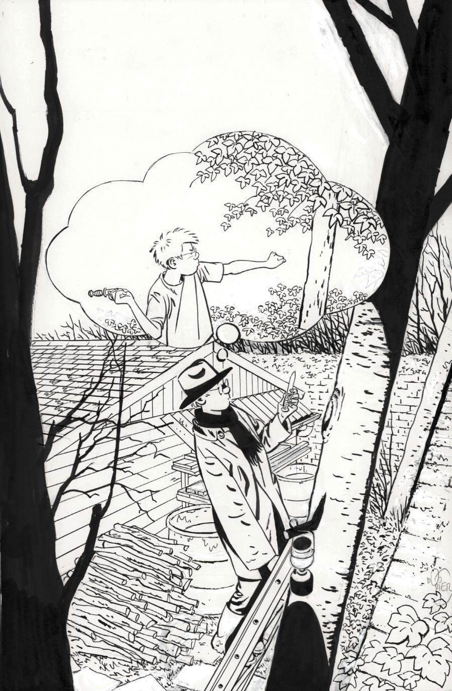 Original cover illustration from JEROME K. JEROME BLOCHE from Spirou journal n°4139 by DODIER