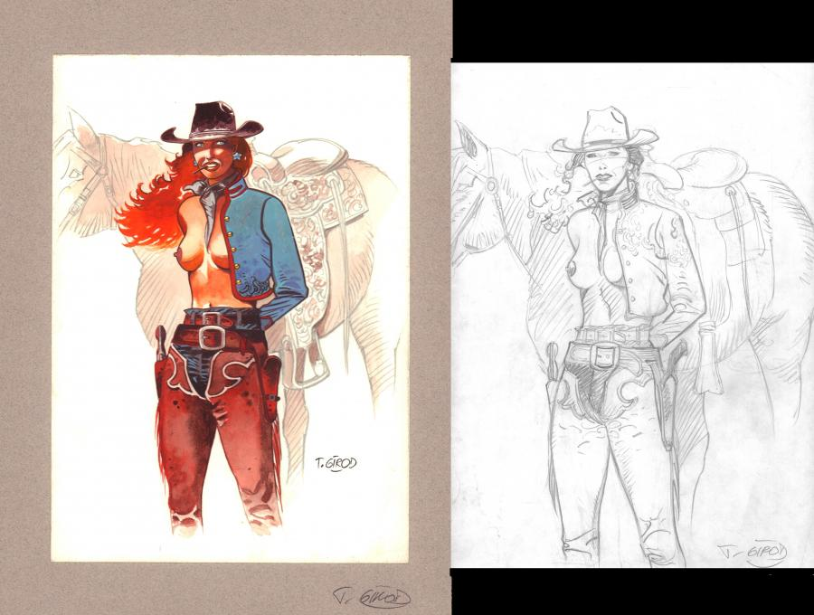 Original colored illustration Cow Girl by GIROD