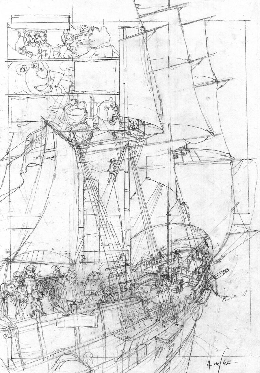 Original sketch of page 46 of LES ENFANTS DU CAPITAINE GRANT issue 1 by NESME