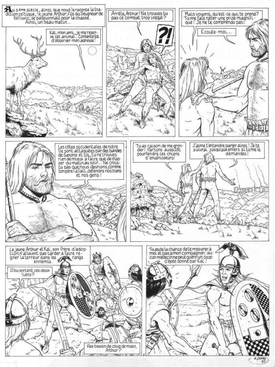 Original comic page 1 from Les compagnons du roi Arthur by Philippe DELABY