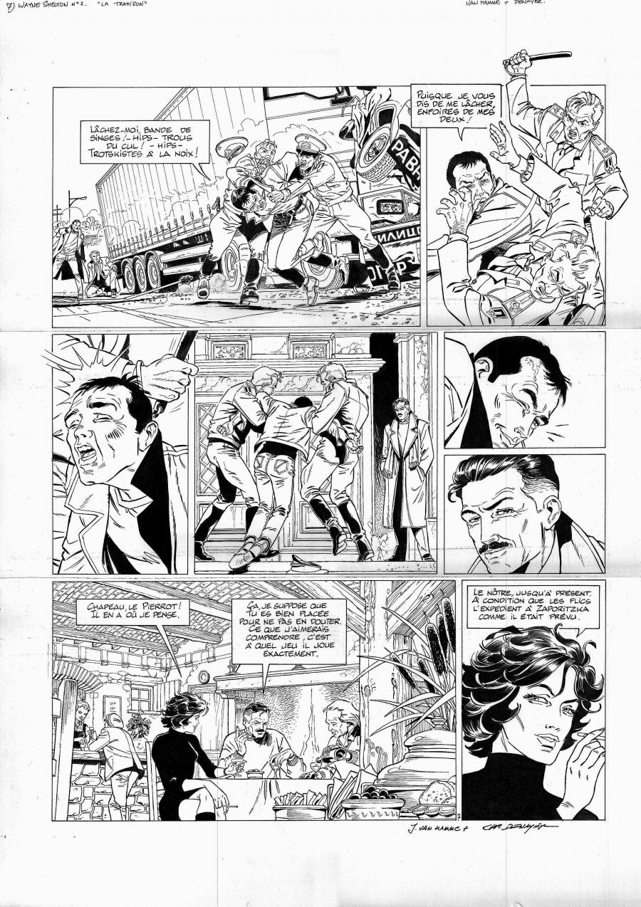 Original comic page 7 of Wayne Shelton issueLa trahion