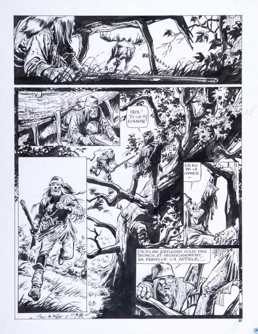 Planche originale de bande dessinée, galerie Napoléon : BUDDY LONGWAY - Planche originale 38 tome 6 de Buddy Longway L'orignal par DERIB - 38