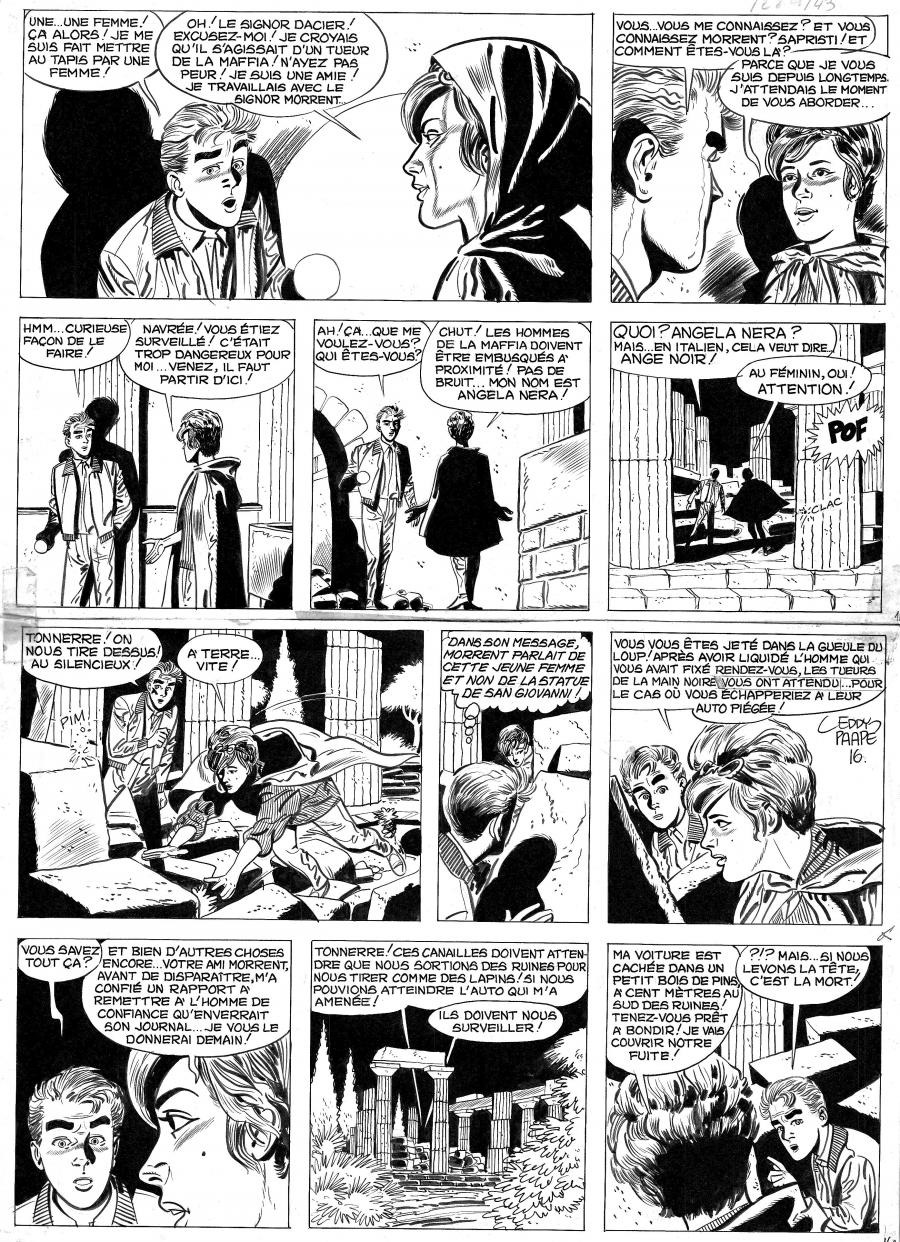 Original Comics illustration, Napoleon Gallery : MARC DACIER - Original comic page 16 Tome 5 La main noire of Eddy Paape - 16