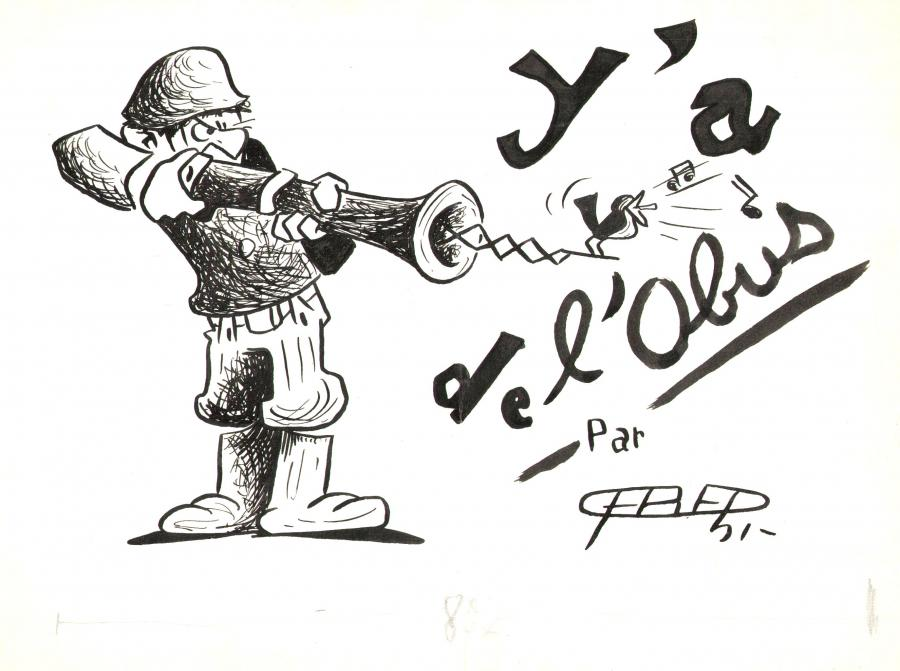 Comics illustration, Napoleon Gallery : miscellaneous - 50's original FRED's illustration published in Quartier Latin newspaper -