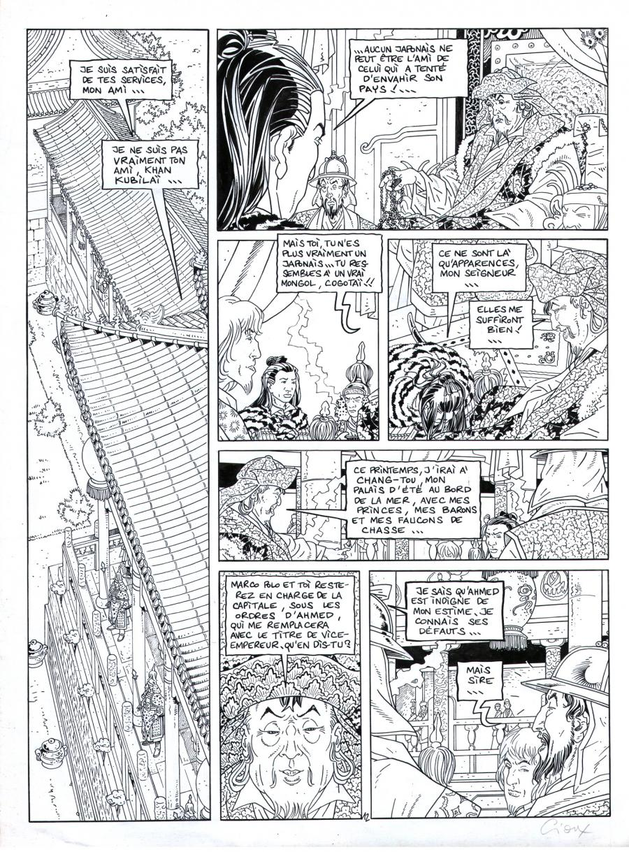 Original comic page from Le Vent Des Dieux by GIOUX issue 11 page 12.