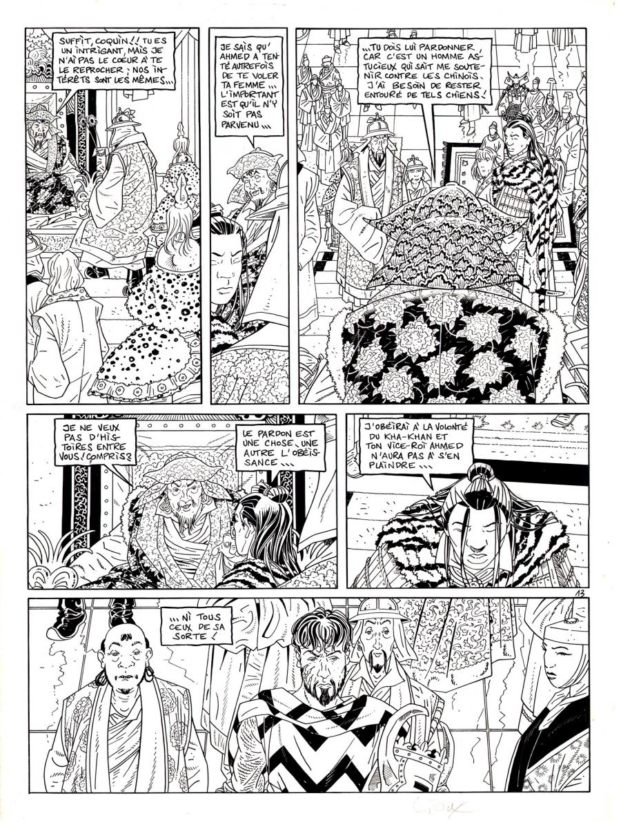Original comic page from Le Vent Des Dieux by GIOUX issue 11 page 13.
