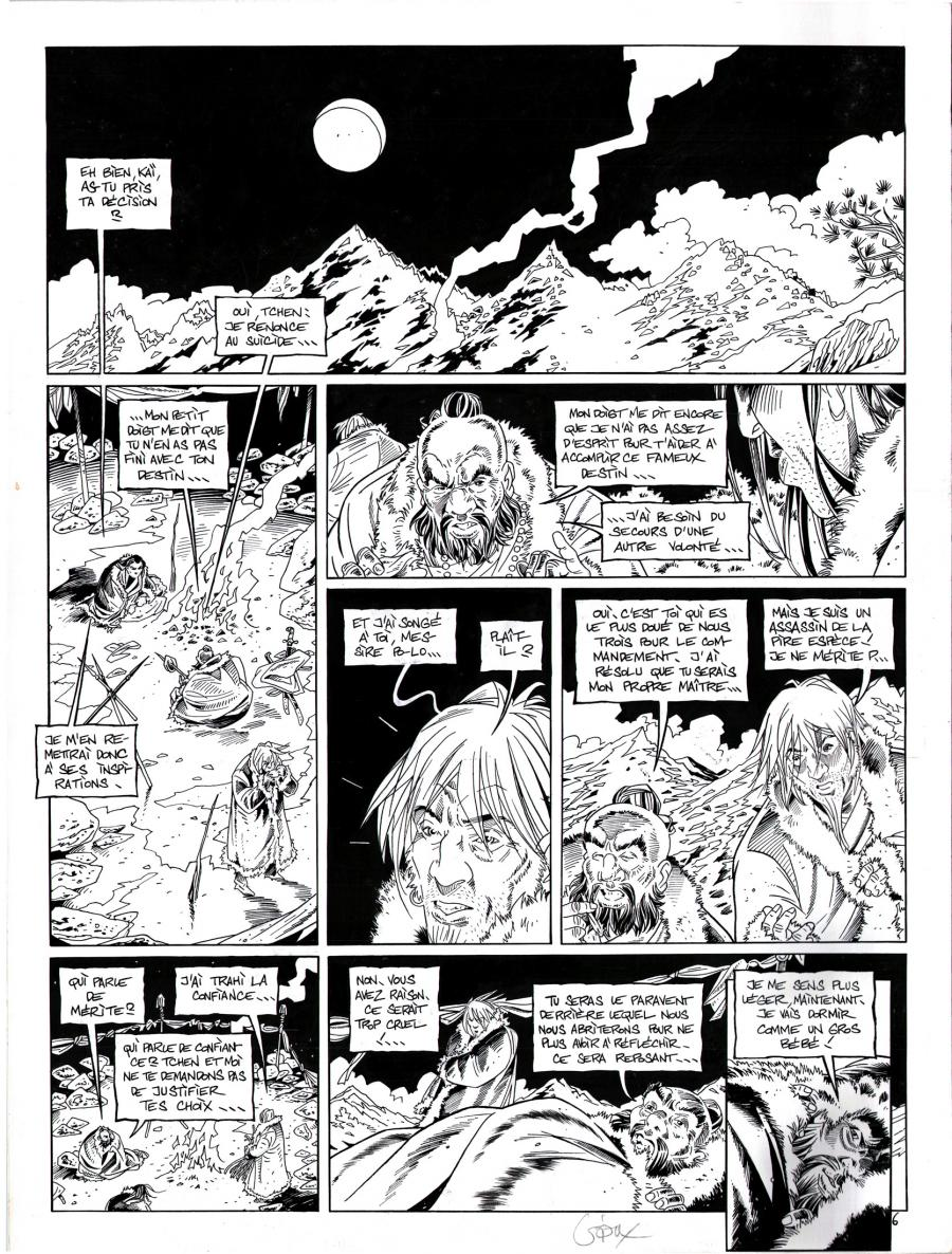 Original comic page from Le Vent Des Dieux by GIOUX issue 14 page 6.