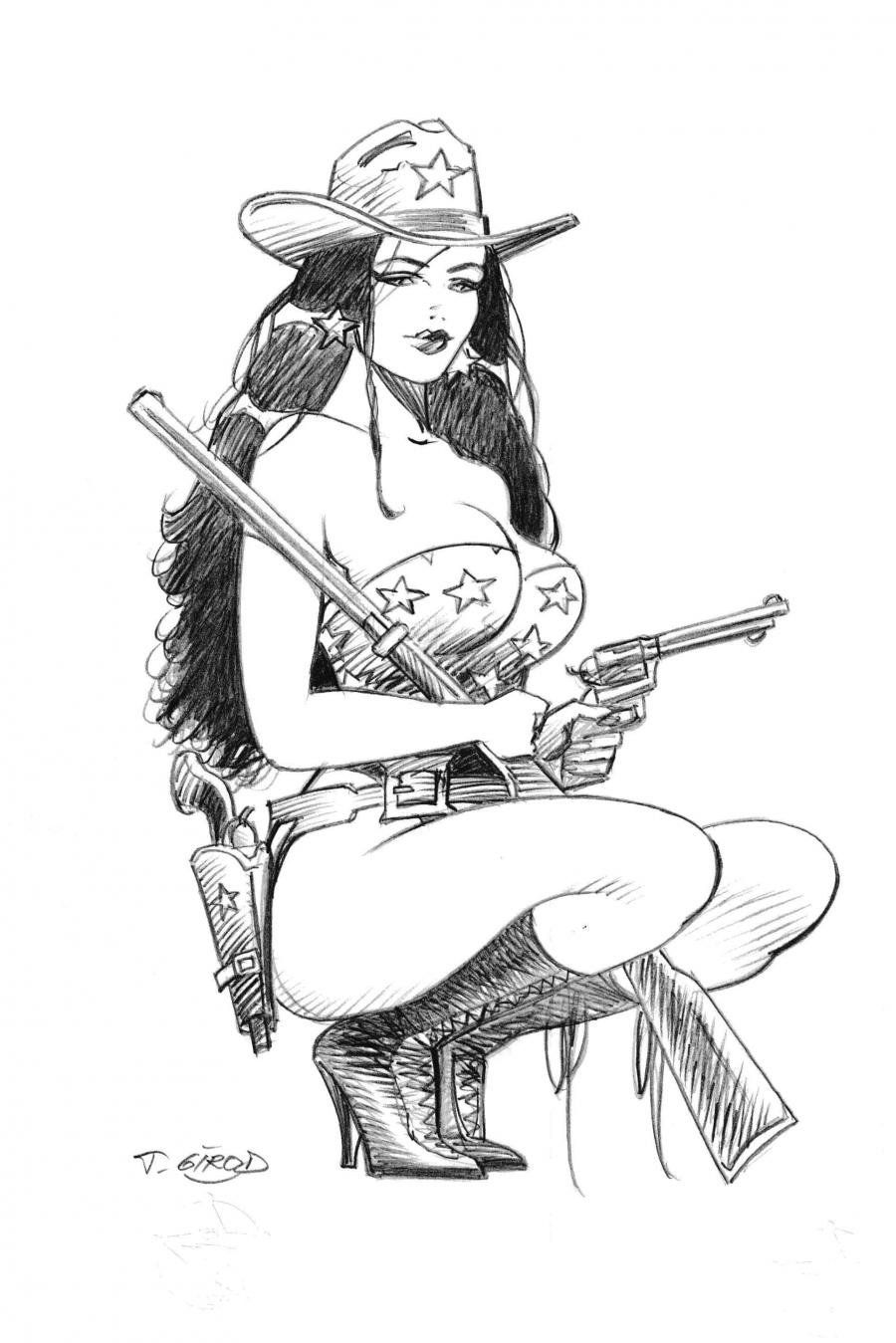 Original cover illustration of Western corset by Thierry Girod