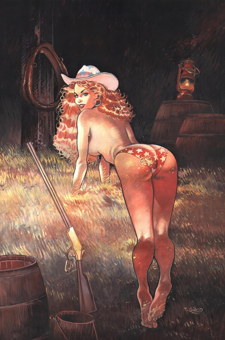 Original illustration in watercolors and gouache - The grange girl - from WESTERN CORSET