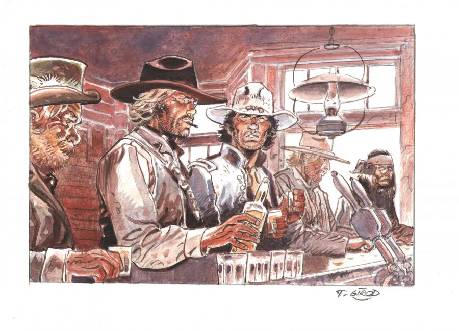 Original illustration watercolors and gouache hommage to Jean GIRAUD - Blueberry, Durango, McClure, Red Neck et Vittorio -