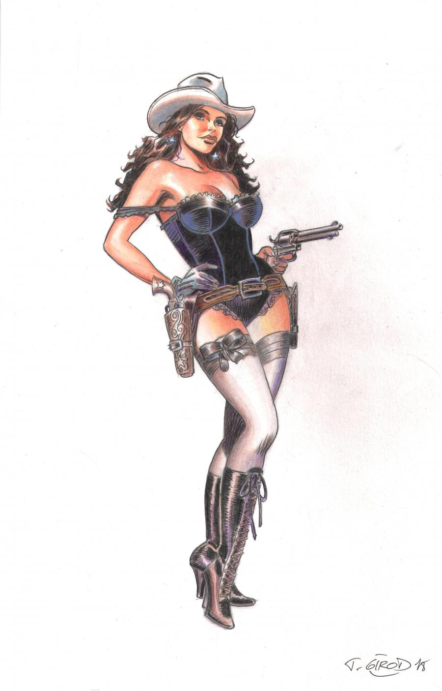 Original illustration watercolors and gouache - Rosi at the guns - from WESTERN CORSET LACET