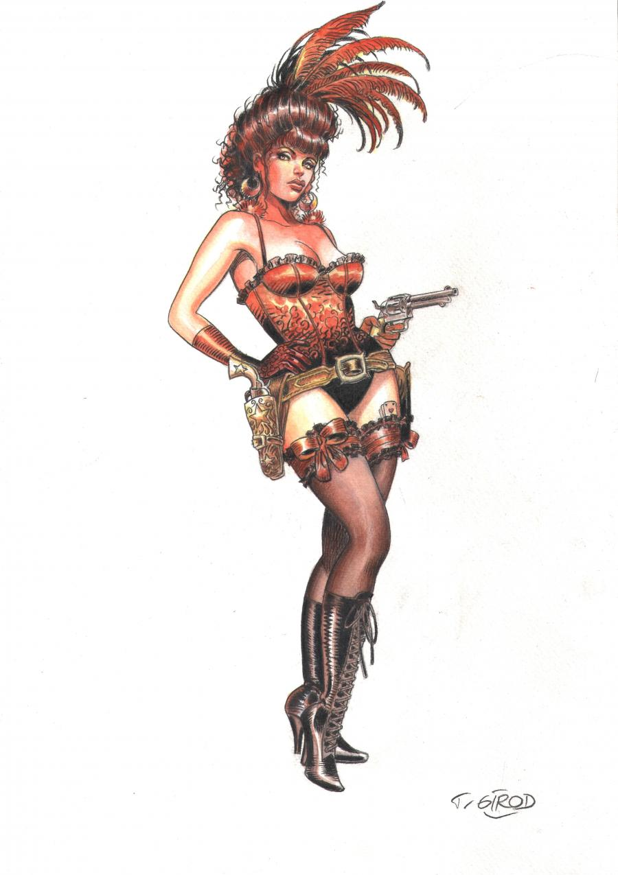 Original illustration watercolors and gouache - Saloon girl's guns - from WESTERN CORSET LACET