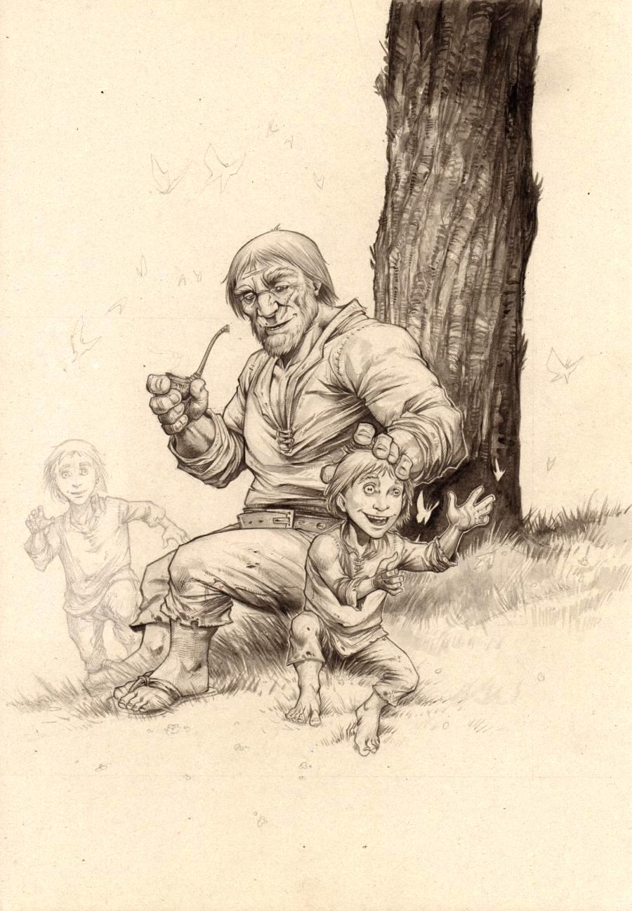 Original illustration - father and sons - by GOUX
