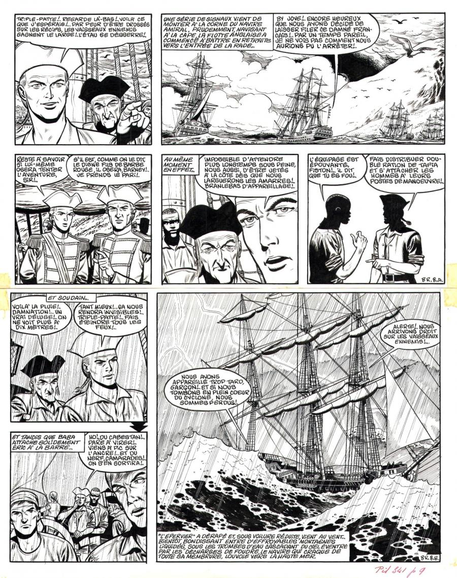 Original comic page 8 from volume 14 of REDBEARD by Victor HUBINON