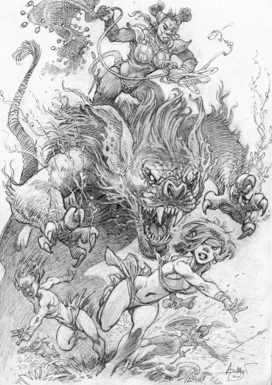 Mohamed AOUAMRI's original comic Art Monster Hunting