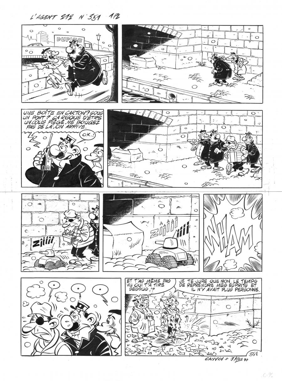 Original Comics illustration, Napoleon Gallery : L'AGENT 212 - Original comic page of gag n°351 from the L'agent 212 series published in Spirou n°3086 by Daniel KOX -