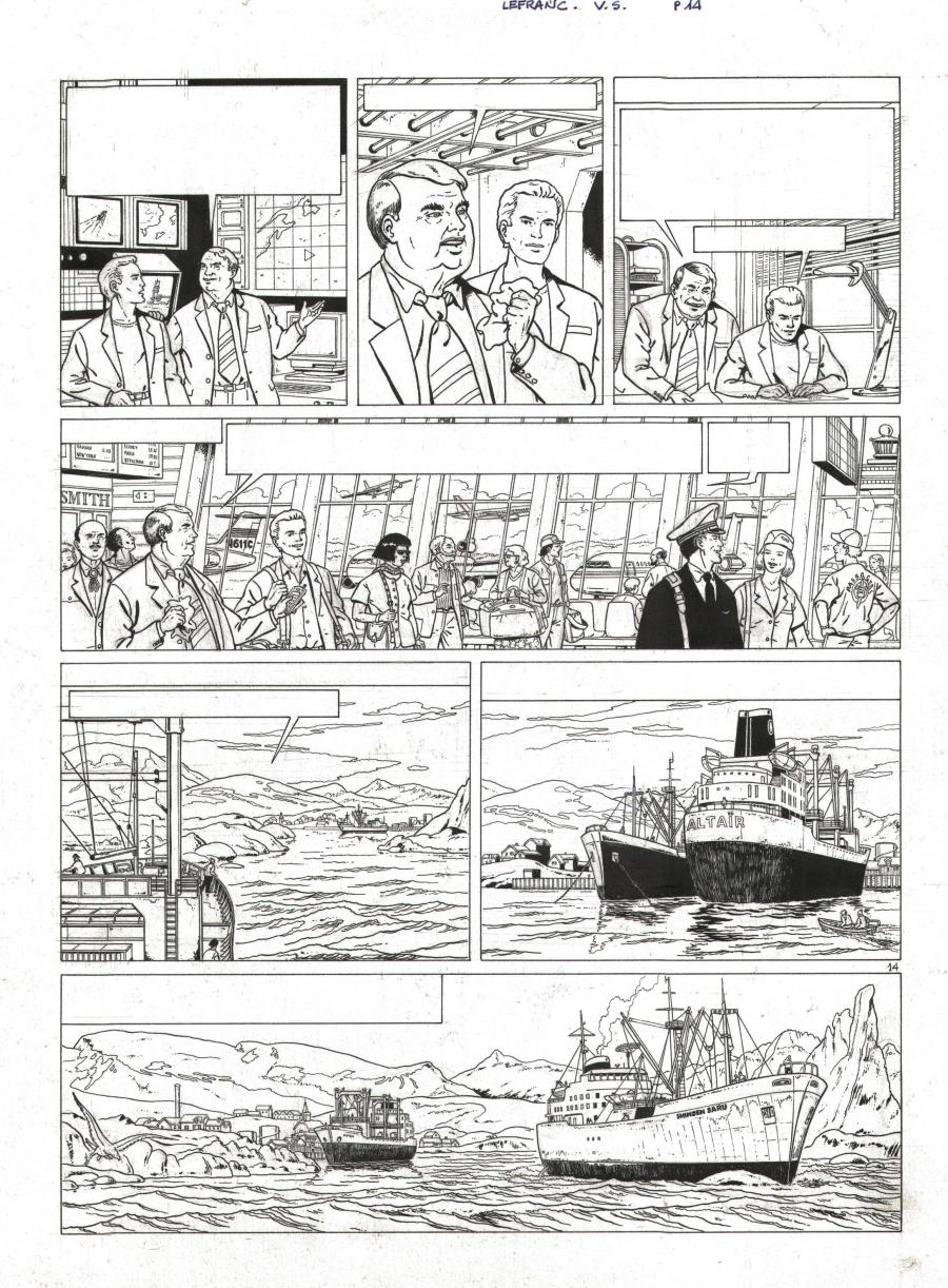 Original comic page 14 issue 13 Lefranc le vol du Spirit by Gilles CHAILLET
