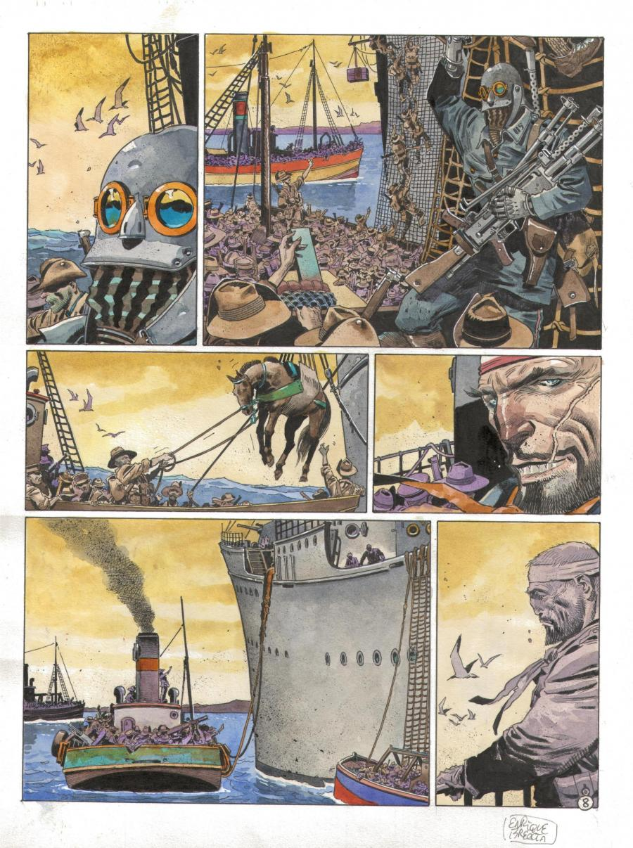 Original comic Page 8  Issue 4 from  Les sentinelles april 1915, les Dardanelles by Enrique BRECCIA