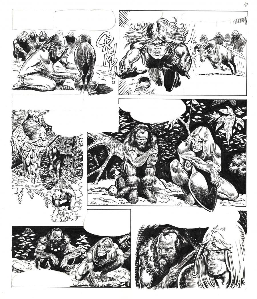 Original comic page 10 from an unpublished story from the Rahan series by Bruno MARRAFFA