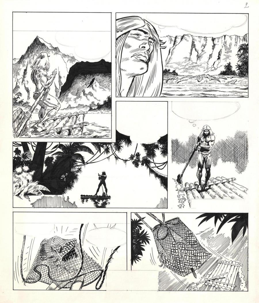 Original comic page 2 from an unpublished story from the Rahan series by Bruno MARRAFFA