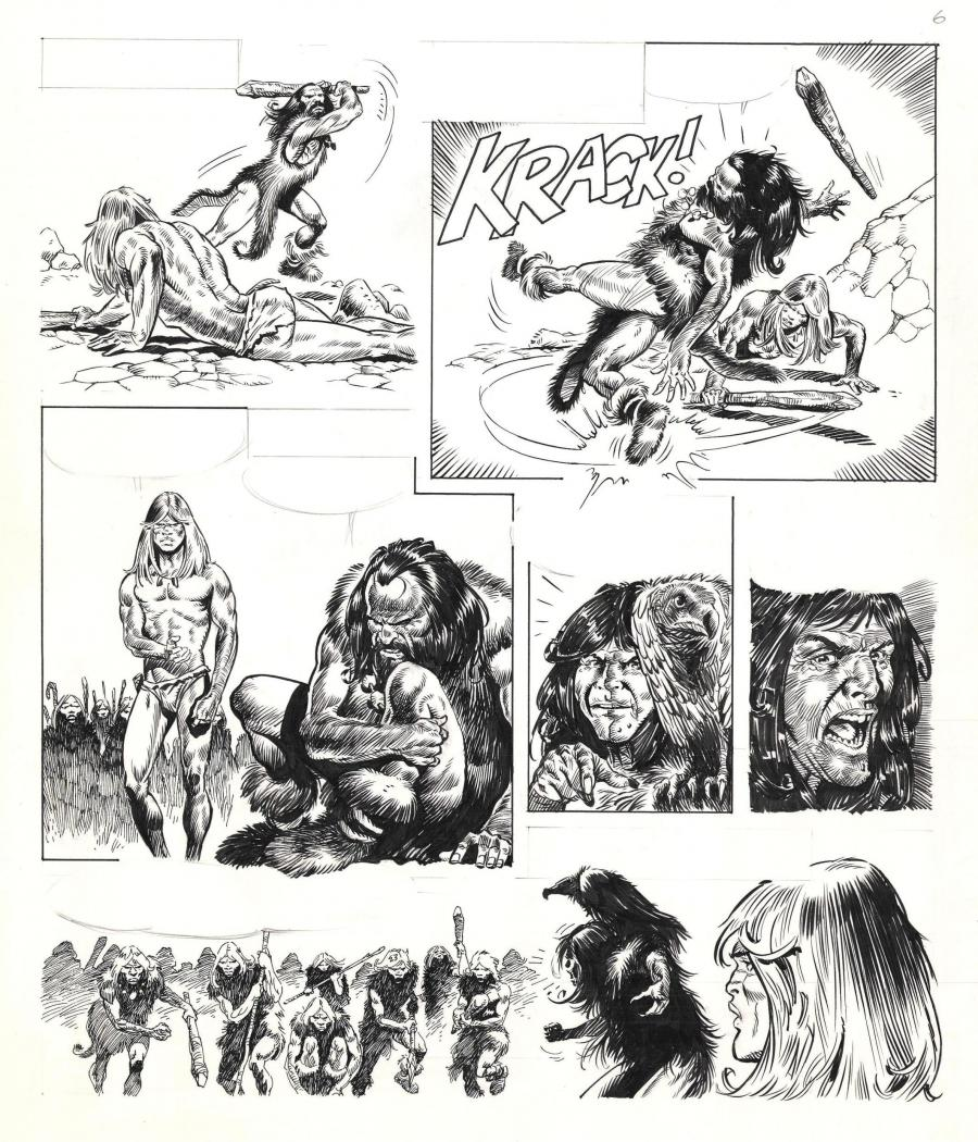 Original comic page 6 from an unpublished story from the Rahan series by Bruno MARRAFFA