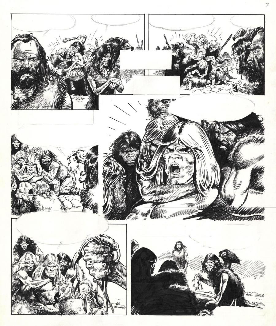 Original comic page 7 from an unpublished story from the Rahan series by Bruno MARRAFFA