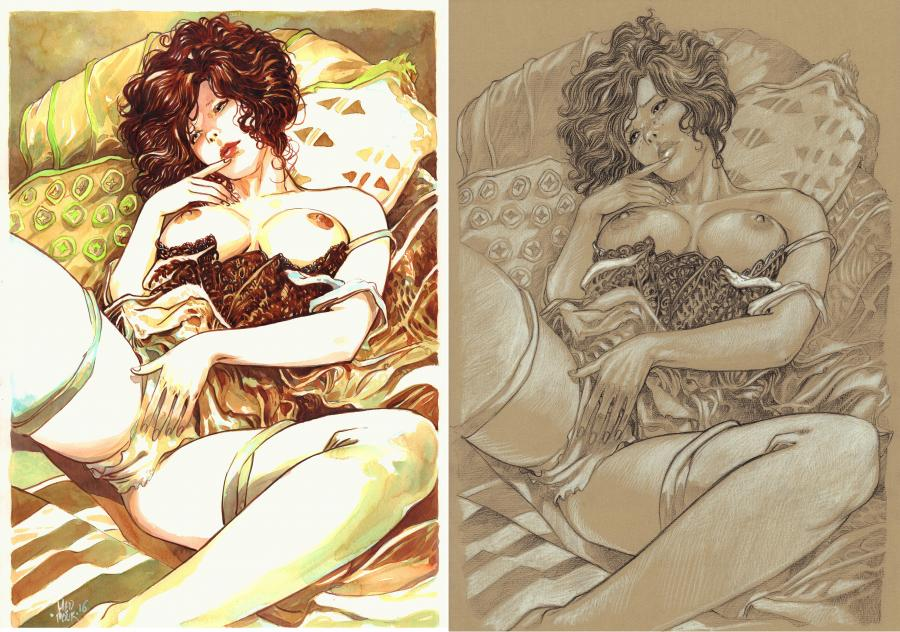 Original comic illustration Pin up with shimmering hair by MEDDOUR
