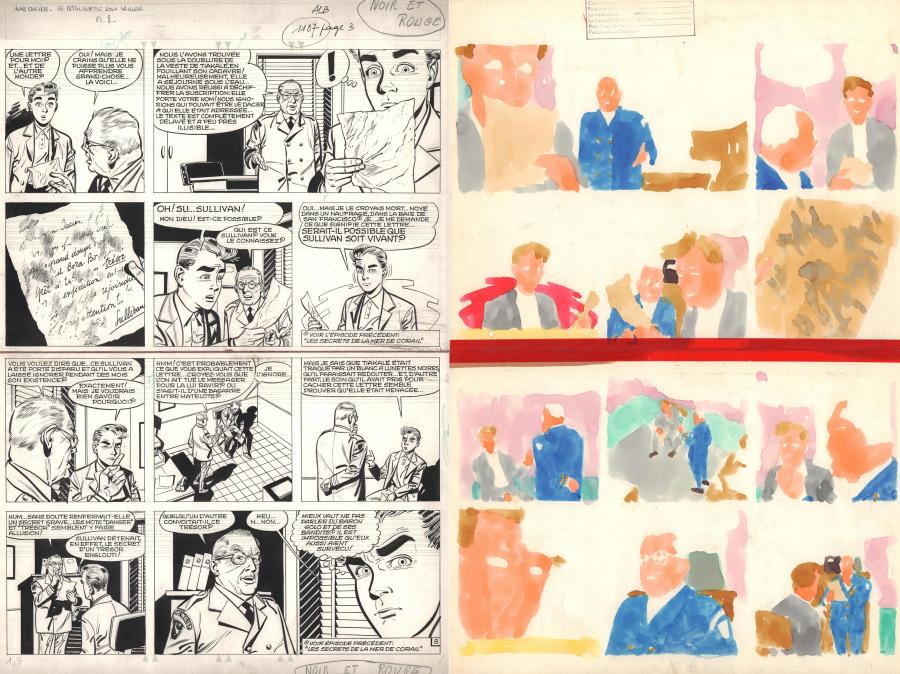Original comic page 8 Issue 5 of MARC DACIER Le Péril guette sous la Mer by Eddy PAAPE