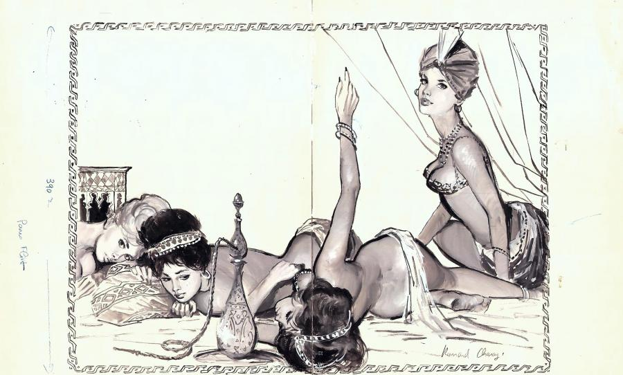 Oriental Pin-Up painting by Bernard CHAROY