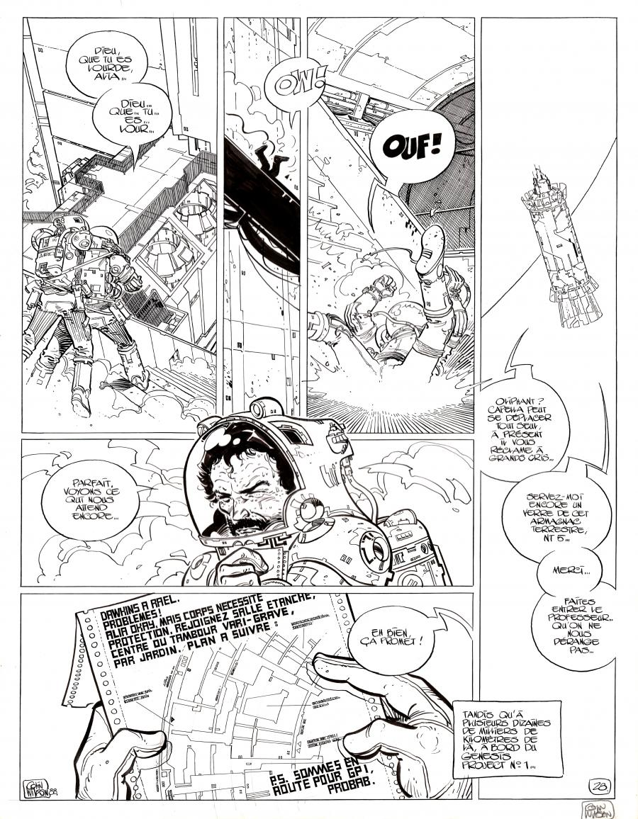 Original comic page 28 from Dans l'ombre du soleil, issue 3 Alia by Colin Wilson