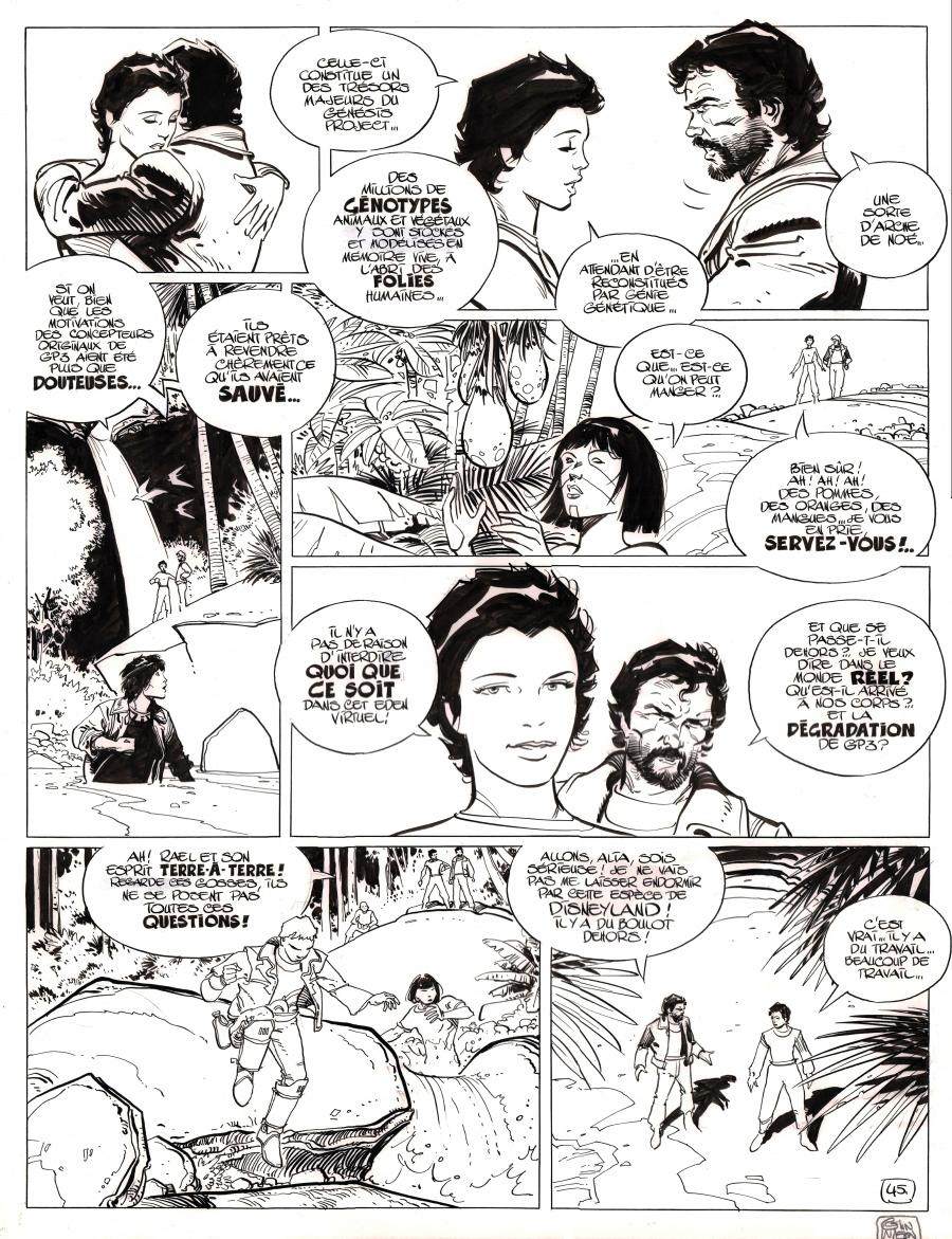Original comic page 45 from Dans l'ombre du soleil, issue 3 Alia by Colin Wilson