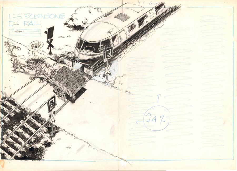 FRANQUIN's original illustration from the Robinson du Rail Book