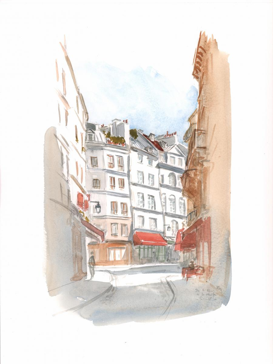 Original comic illustration Rue de la Harpe par Michel RIU