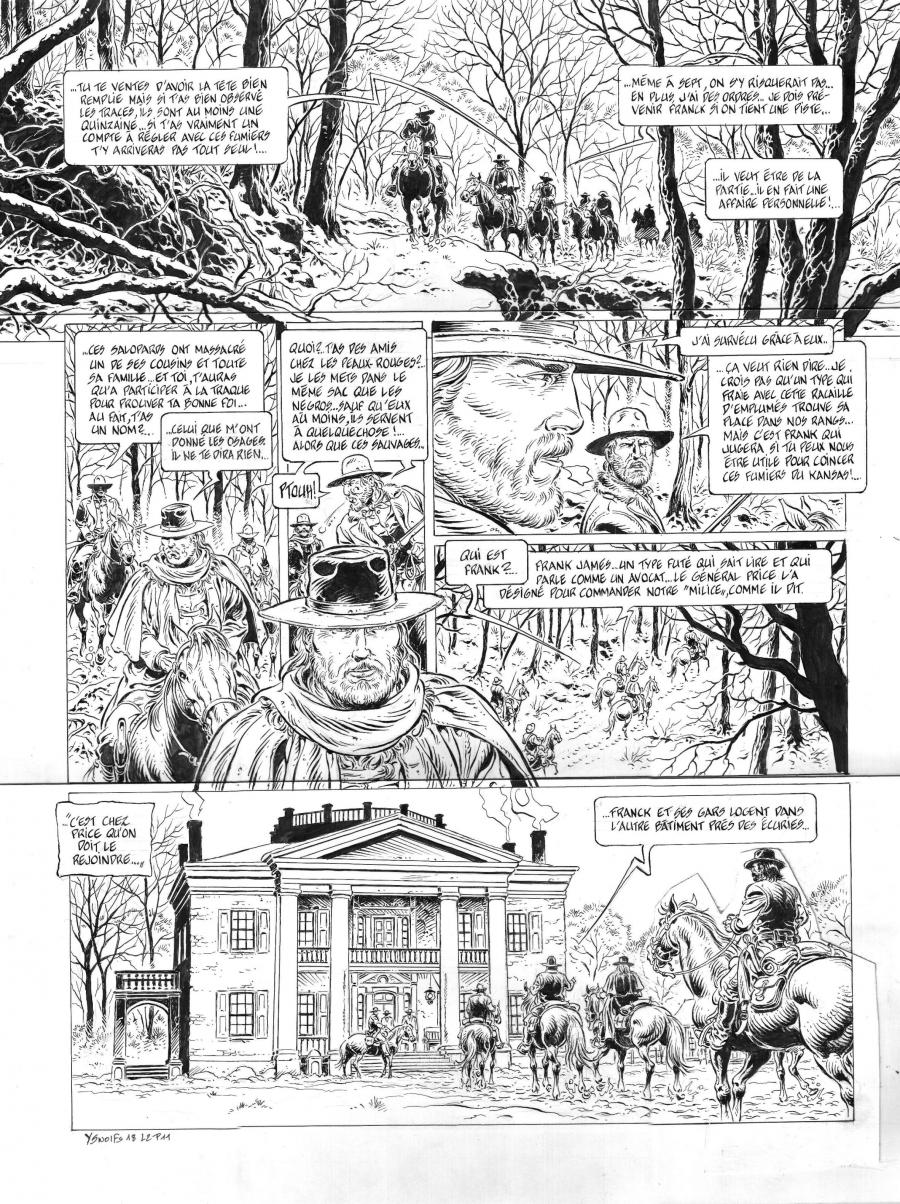 Original comic page 1 of LONESOME issue 2. Les ruffians, by Yves SWOLFS