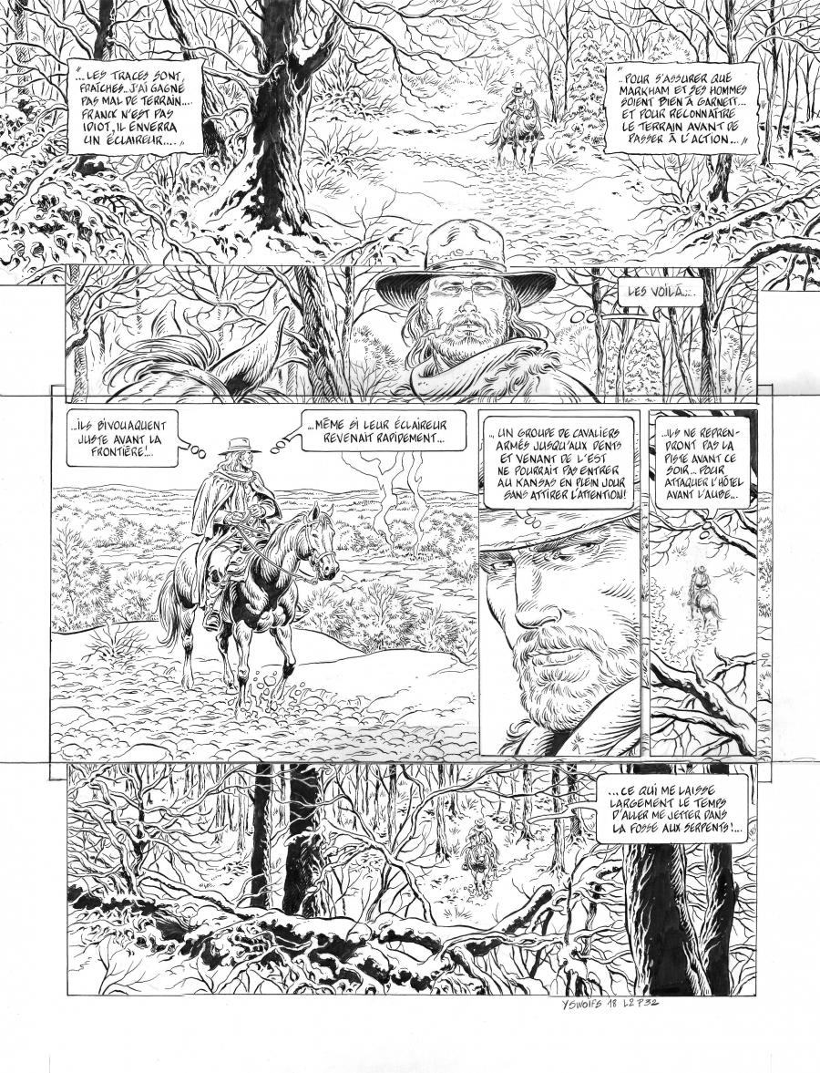 Original comic page 32 of LONESOME issue 2. Les ruffians, by Yves SWOLFS