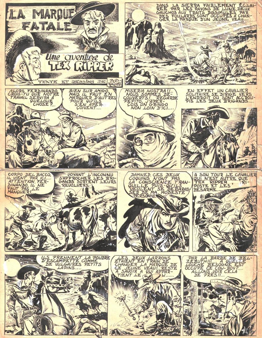 Robert LEGUAY's original comic art TEX RIPPER page 1