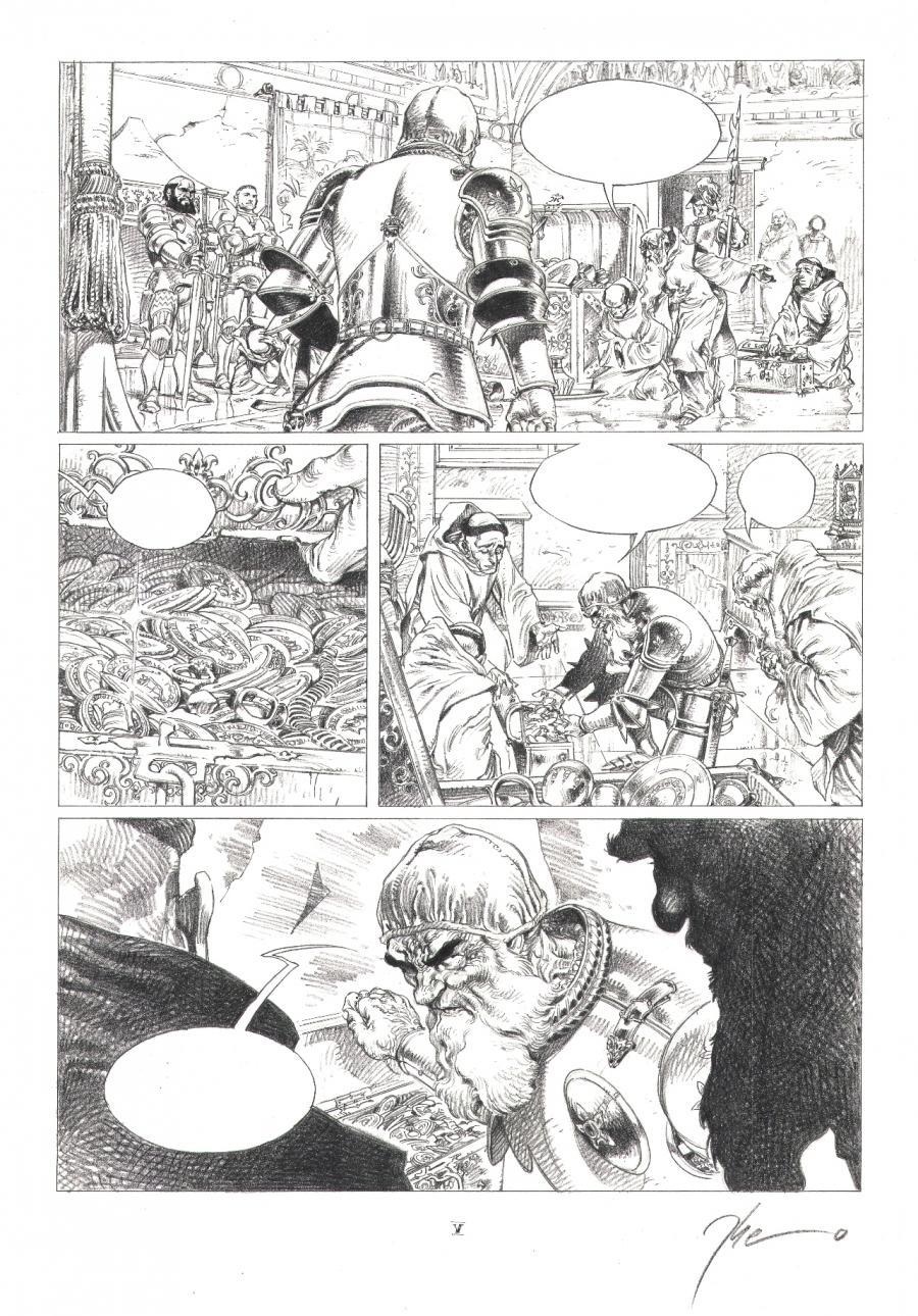 Original comic page 5 from volume 3 of the LE PAPE TERRIBLE series - La pernicieuse vertu -