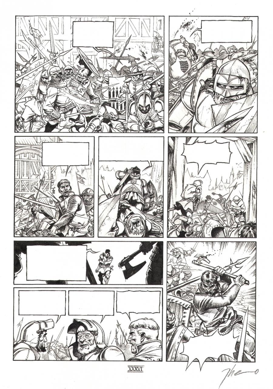 Original comic page 36 from volume 1 of LE TRONE D'ARGILE - Le chevalier à la hache -