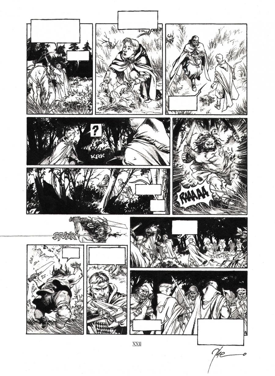 Original comic page 22 from volume 2 of LE TRONE D'ARGILE- Le pont de Montereau -