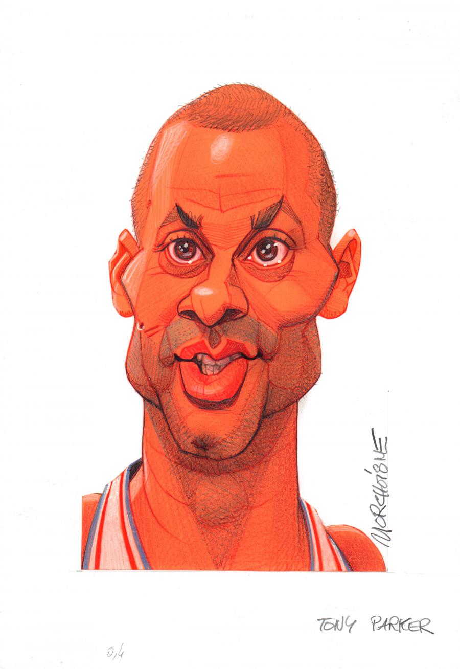 Original caricature of Tony Parker by MORCHOISNE