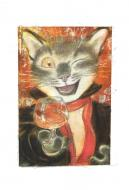 The cat painter - with a glass - original illustration by Andreï ARINOUCHKINE